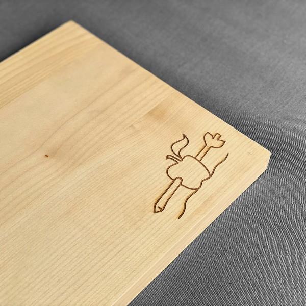 Holzschneidebrett Motiv Apfelschuss