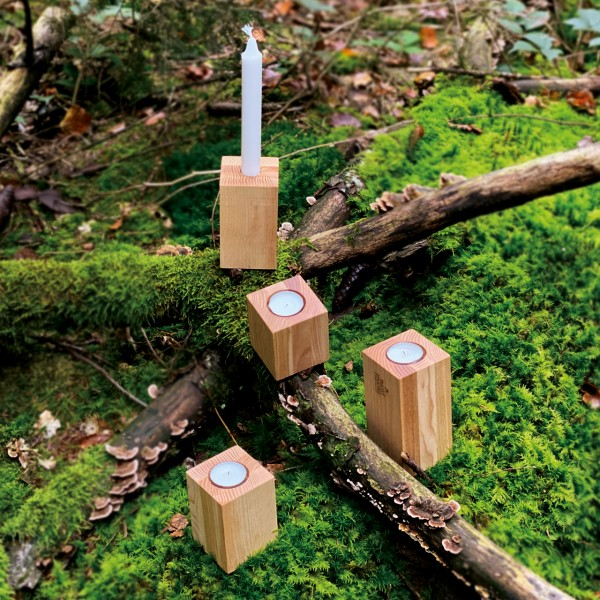 Kerzenständer-Set 3 in 1 – Basic, Esche – Vier im Wald