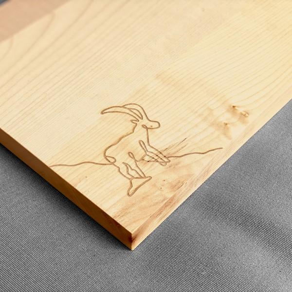 Holz Schneidebrett mit Motiv «Steinbock»