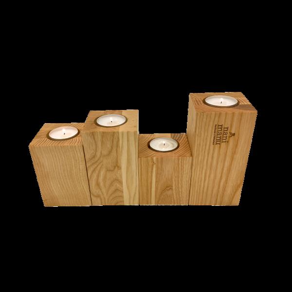 Kerzenständer-Set 3 in 1 – Basic, Esche – Vorderseite Rechaud