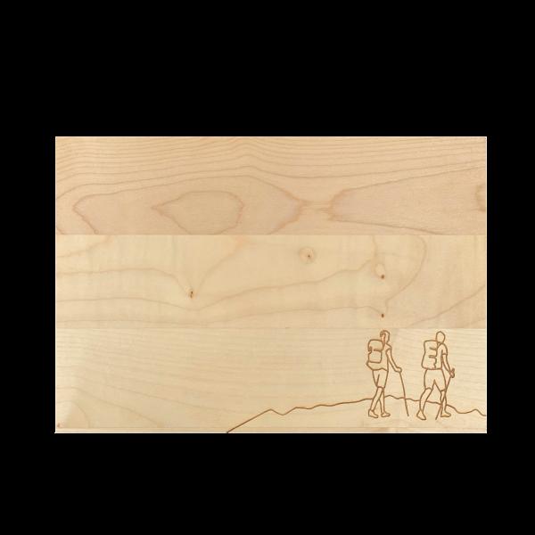 Holzschneidebrett Motiv Wandern Ahorn